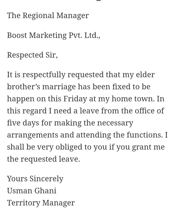 Leave application for niece marriage