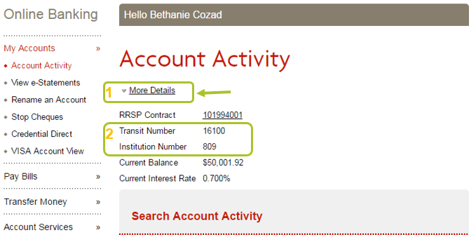 Rbc how to find your branch number online