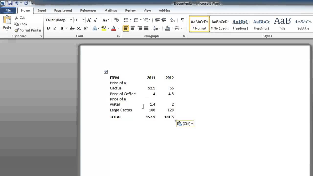 Transfer word document to excel