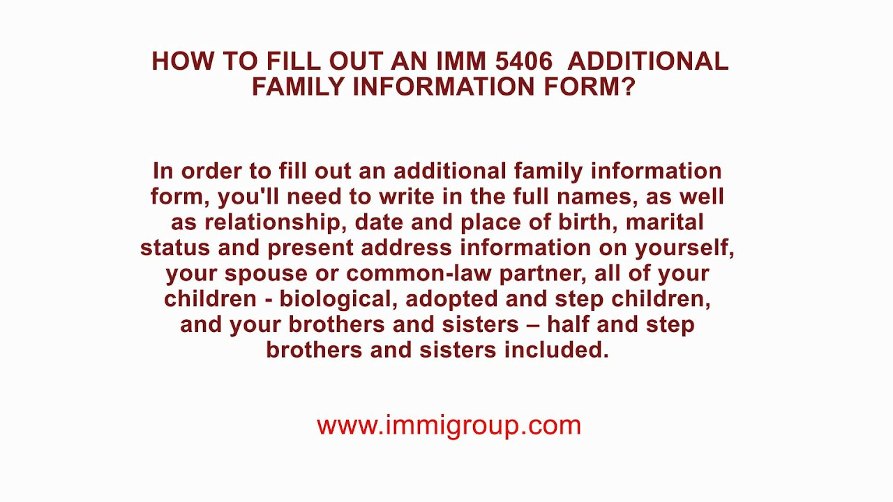Cic family information form guide