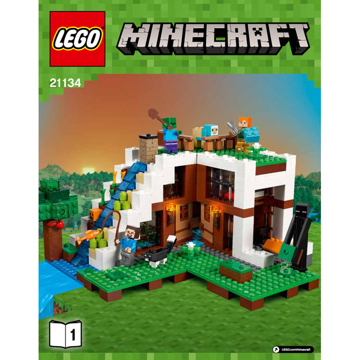 lego minecraft waterfall base instructions
